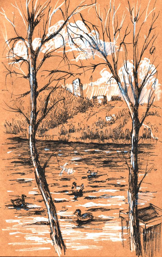 美好的山风景背景视图与高山湖、鸭子和云杉的森林的,速写手拉的墨水阴影 皇族释放例证