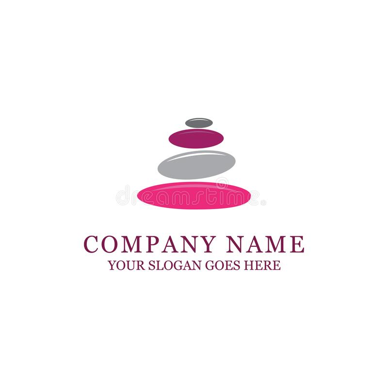 美好的岩石疗法商标设计、温泉和时尚 向量例证