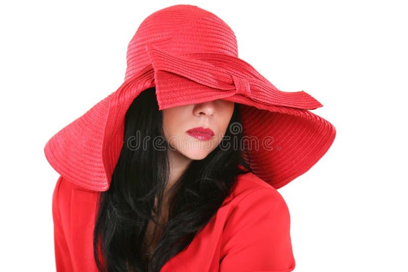 美好的帽子夫人红色 免版税图库摄影
