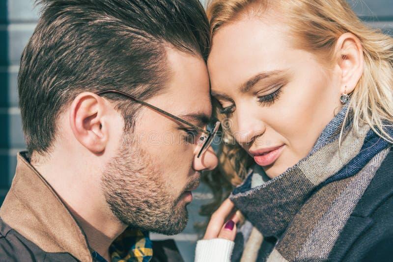 美好的年轻夫妇特写镜头画象在爱的 库存图片