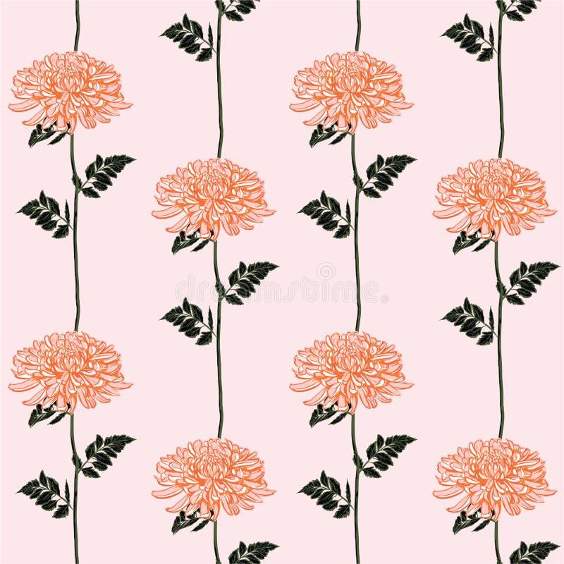 美好的开花的菊花线镶边了在传染媒介设计的无缝的样式时尚、织品、网、墙纸和所有印刷品的 库存例证