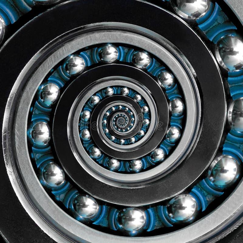 美好的异常的抽象分数维顺时针蓝色螺旋工业滚珠轴承 制造t的轴承的螺旋分数维作用 库存图片