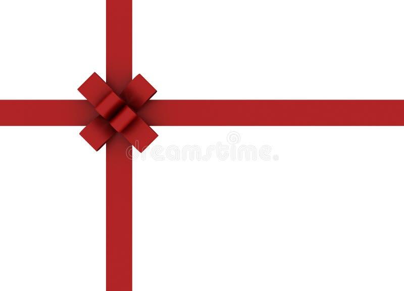 美好的弓查出的红色丝带白色 皇族释放例证