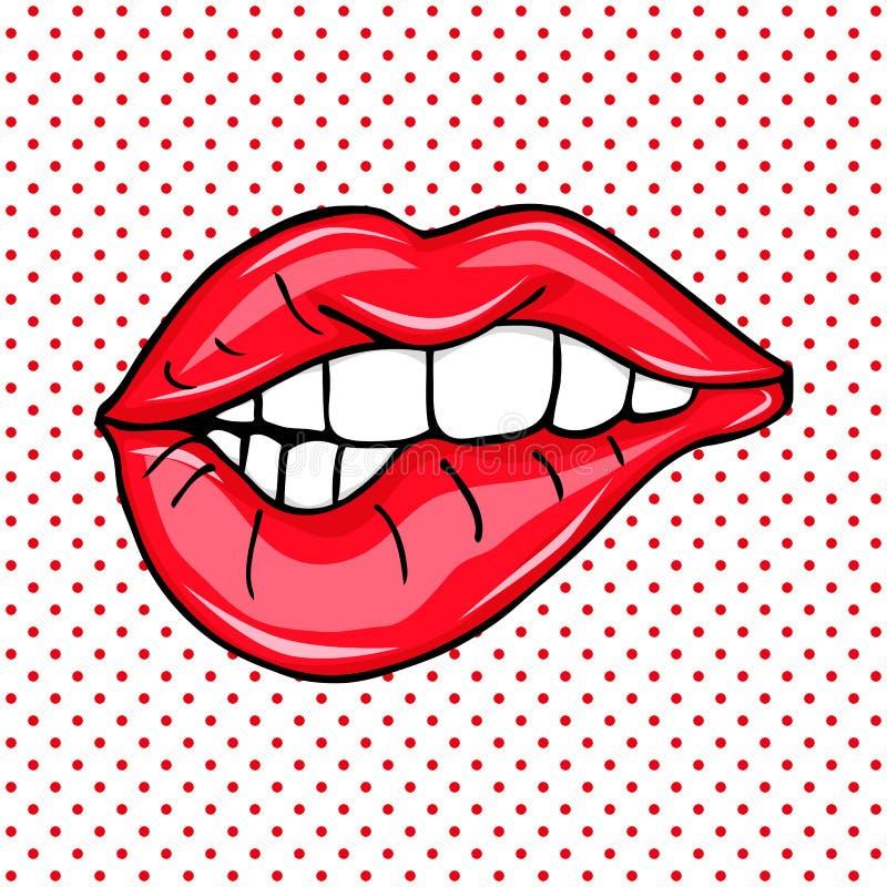 美好的性感的流行艺术对光滑的传染媒介嘴唇 向量例证