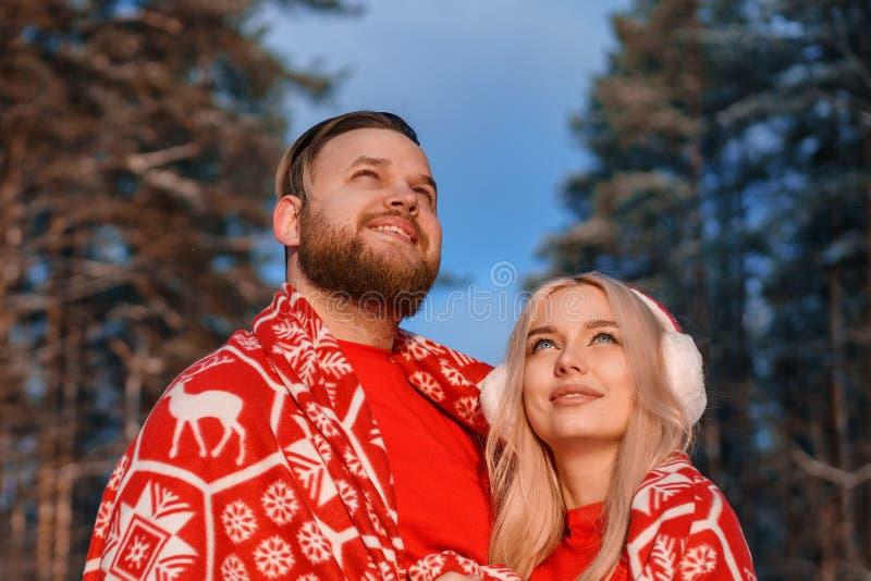 美好的愉快的夫妇在拥抱冬天的森林里 免版税库存照片