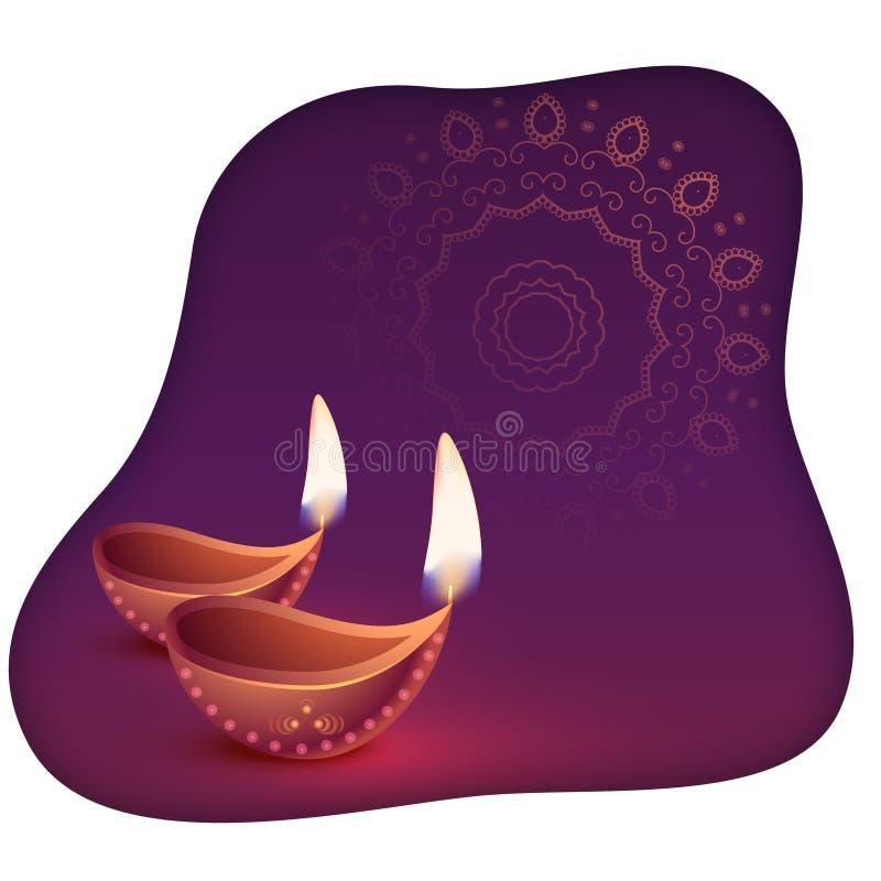 美好的愉快的diwali diya摘要背景 向量例证