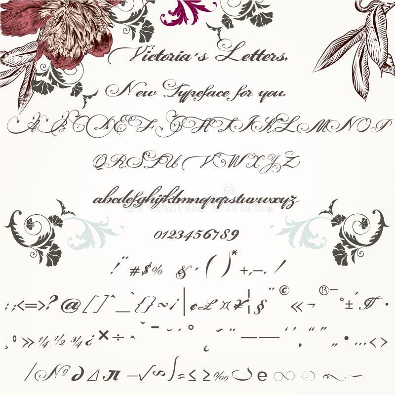美好的手工制造剧本字体或字体在葡萄酒维多利亚女王时代 向量例证