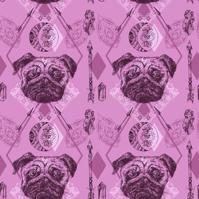 美好的手拉的传染媒介无缝样式速写狗 向量例证