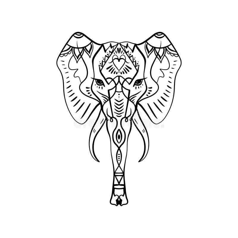 美好的手拉的大象概述 Boho部族样式 库存例证