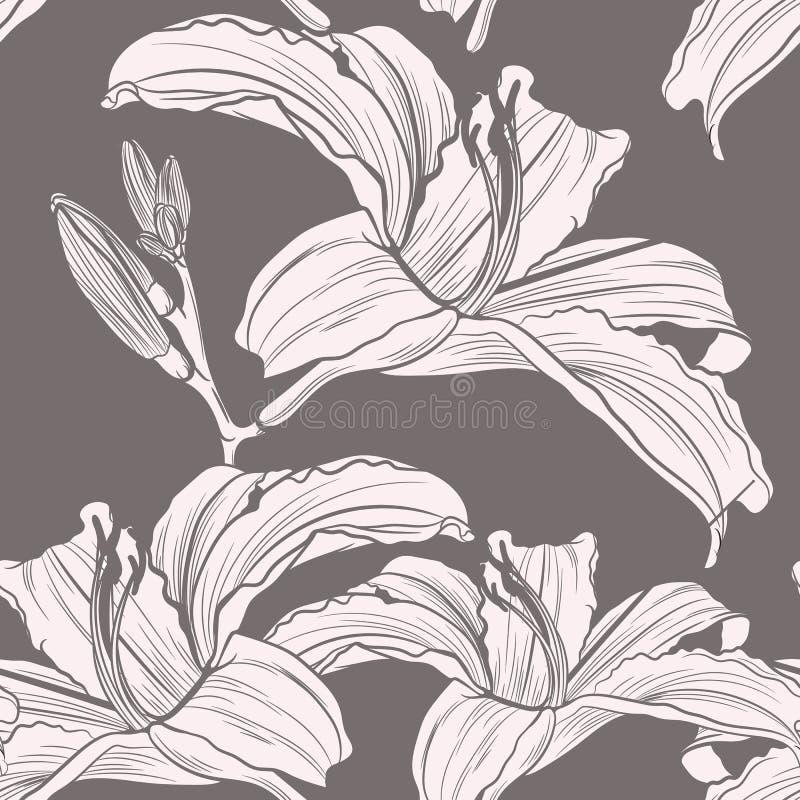 美好的手拉的线剪影花百合无缝的样式,时尚的,织品传染媒介 向量例证