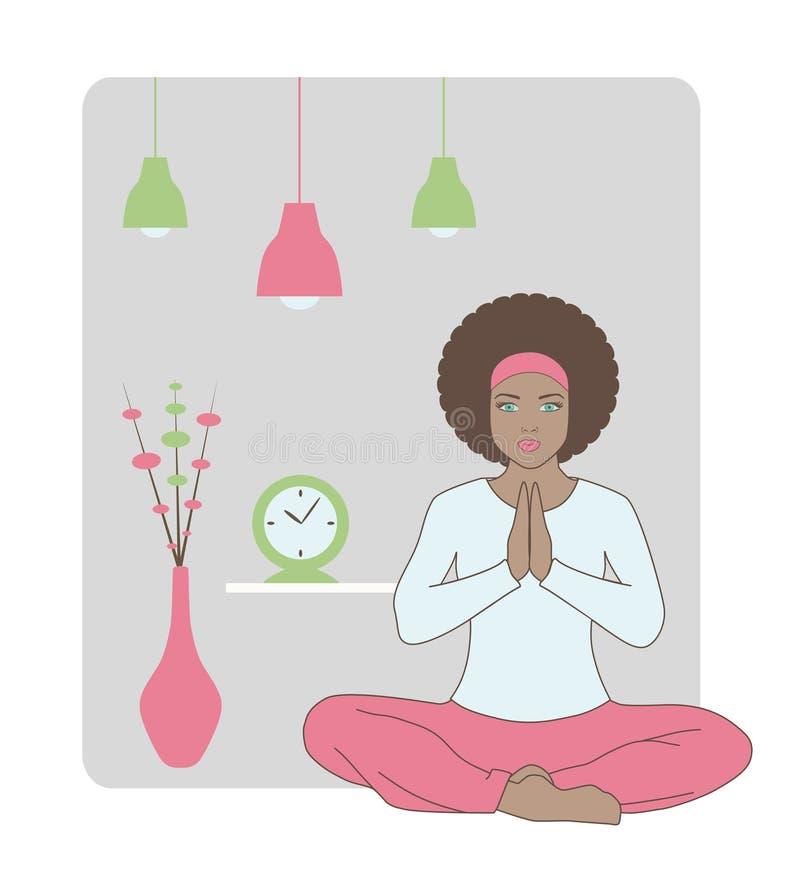 美好的执行的室内女子瑜伽 免版税图库摄影