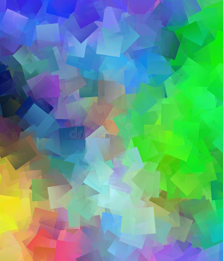 美好的抽象立体主义的五颜六色的背景 库存例证