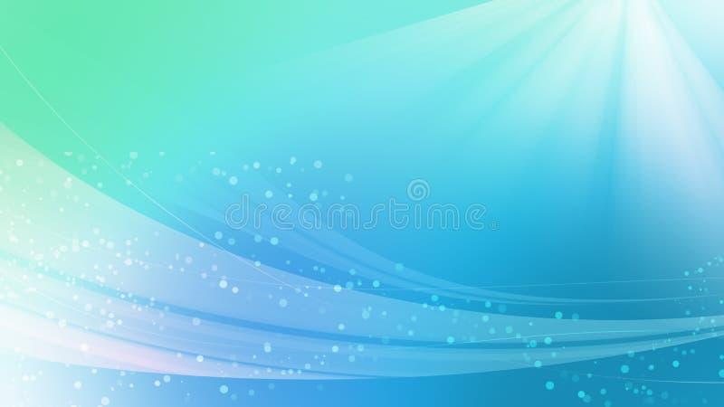 美好的抽象背景、蓝色海口气和bokeh挥动光 向量例证