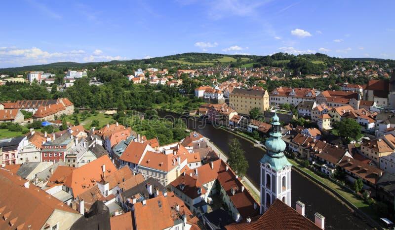 美好的捷克克鲁姆洛夫的夏天风景历史中心 库存图片