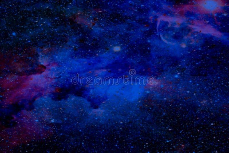 美好的摘要纹理五颜六色的红色天空蔚蓝风景在黑暗和极光北极星和星的太阳系在Th 免版税库存照片