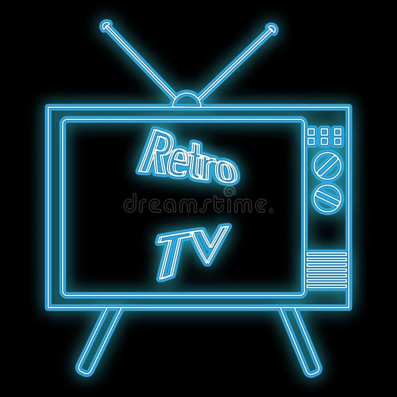 美好的摘要霓虹明亮的发光的象,从老减速火箭的管电视显象管电视的一块牌从20世纪70年代,80s,90s 库存例证
