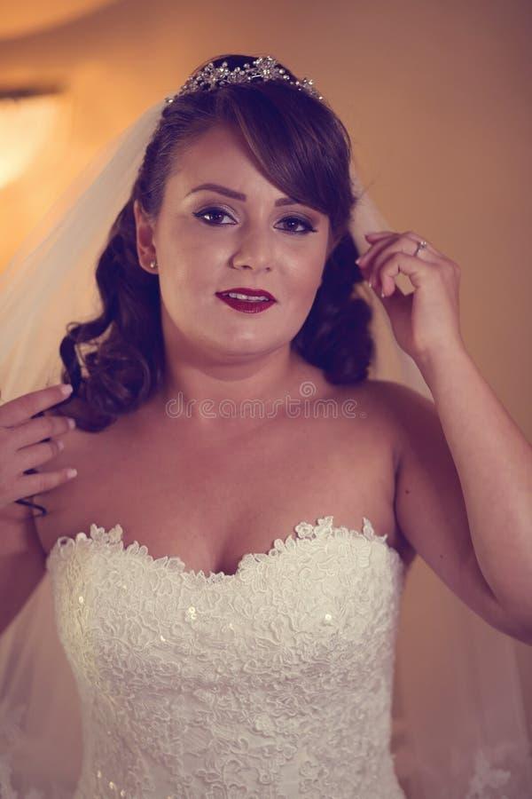 美好的新娘日她的婚礼 图库摄影