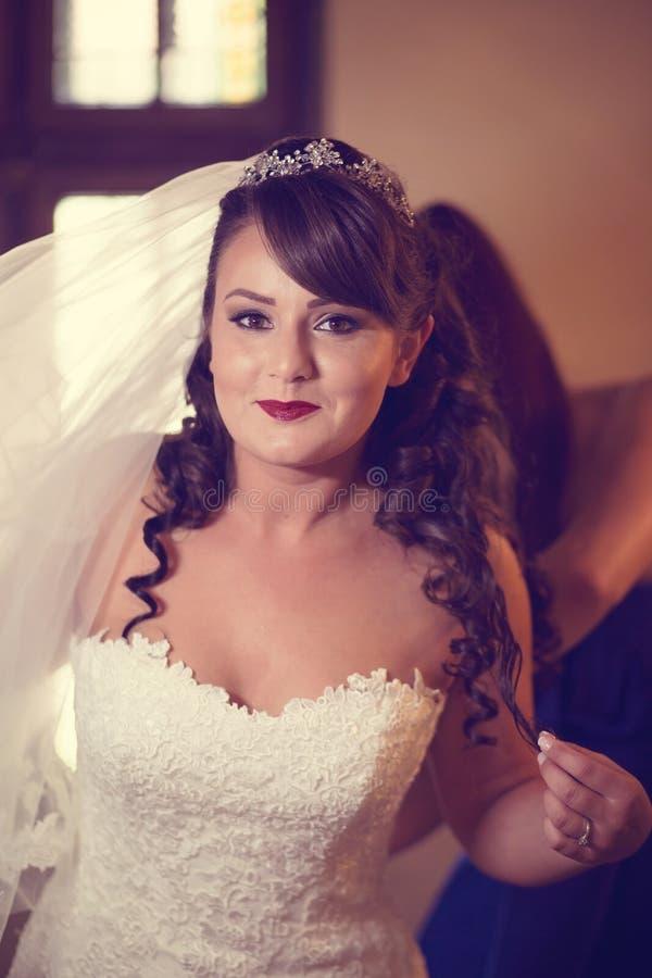 美好的新娘日她的婚礼 库存图片