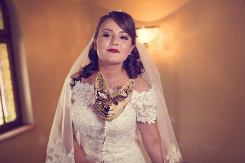 美好的新娘日她的婚礼 免版税库存图片