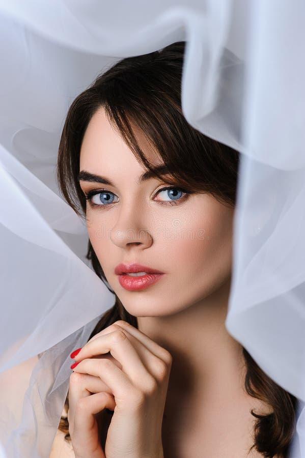 美好的新娘画象婚礼发型和组成 免版税库存图片