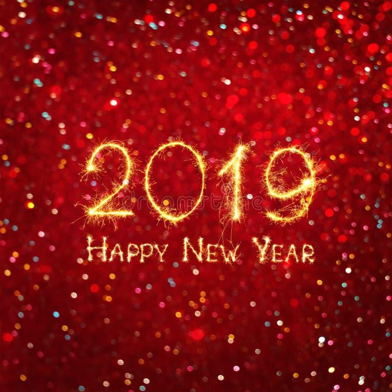 美好的方形的贺卡新年快乐2019年 向量例证
