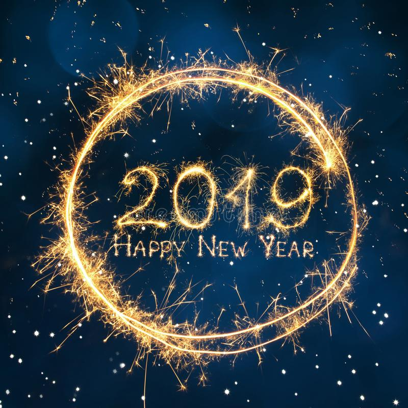 美好的方形的贺卡新年快乐2019年 库存照片