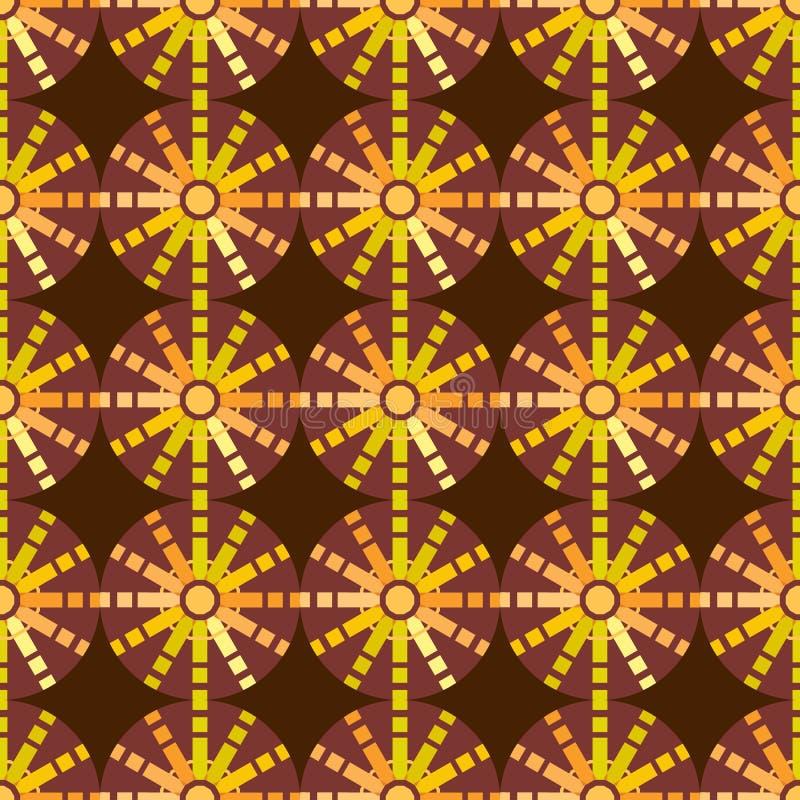 美好的无缝的几何太阳样式 向量例证