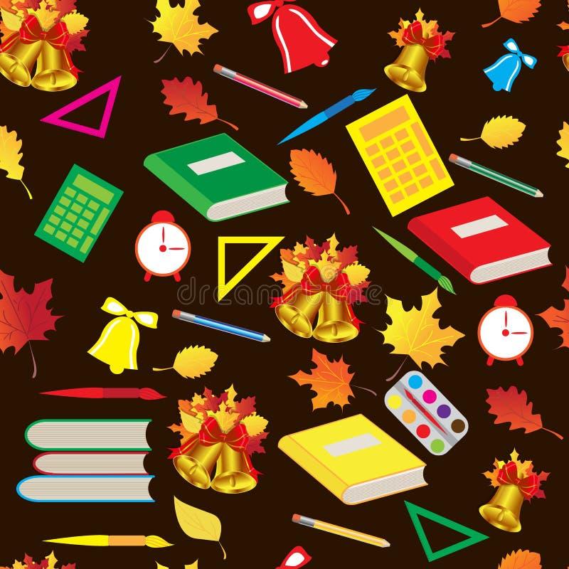 美好的无缝的秋天学校样式 向量例证