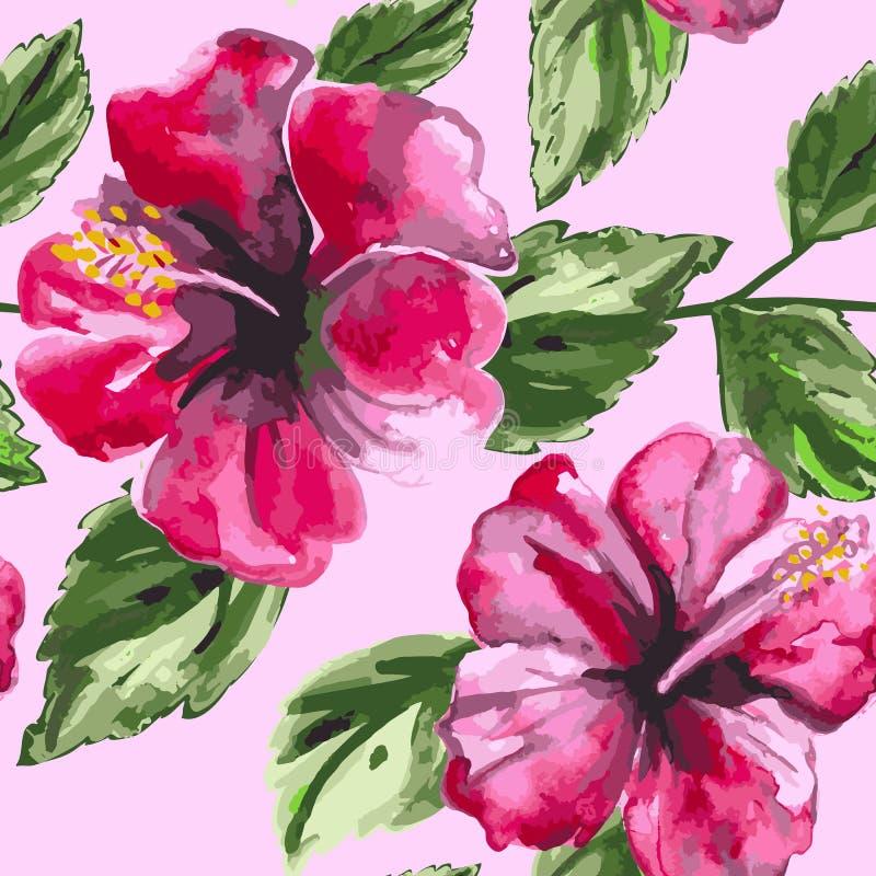 美好的无缝的花卉样式背景与 库存例证