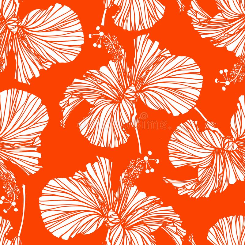 美好的无缝的花卉样式背景 Hibiscusl开花背景 反复性木槿花现实的传染媒介 向量例证