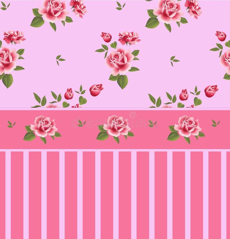 美好的无缝的花卉样式,花例证 与桃红色玫瑰的高雅墙纸在花卉背景 向量例证