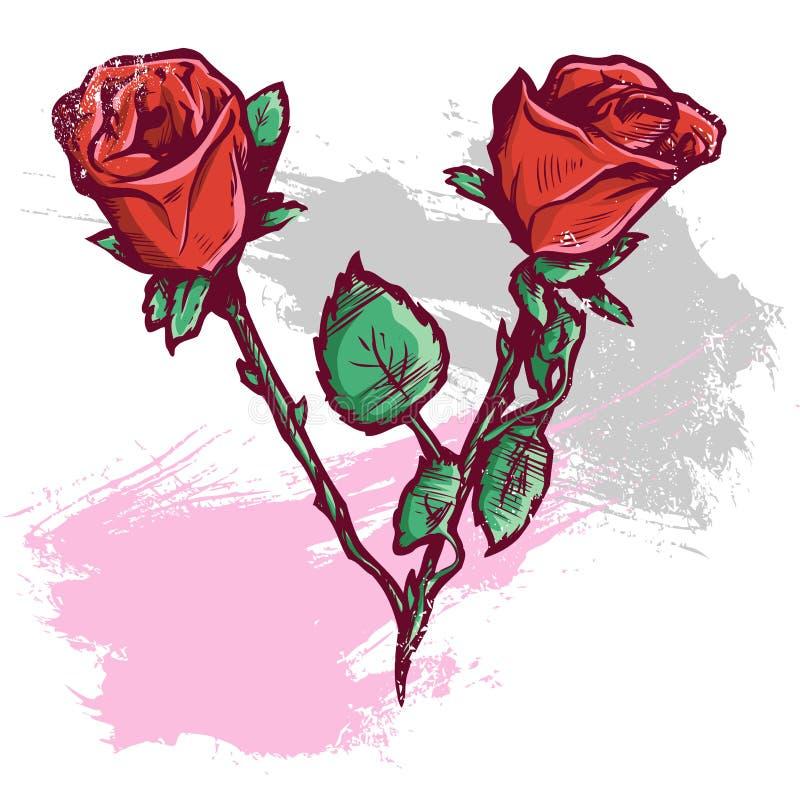 美好的日例证玫瑰华伦泰向量 皇族释放例证