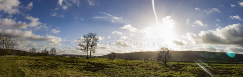 美好的日落全景在诺曼底 库存照片