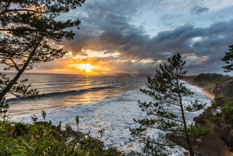 美好的日落和海岸线在南部鹿儿岛,九州,日本 免版税图库摄影