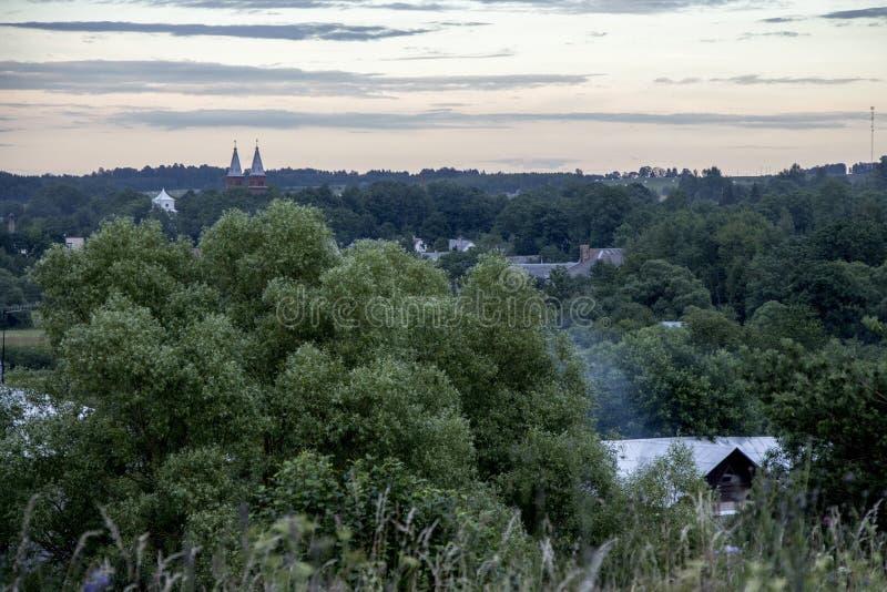 美好的日落和风景在有树和城市全景的立陶宛 免版税库存照片