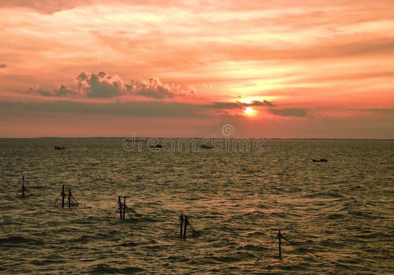 美好的日落在头顿市,越南 库存图片