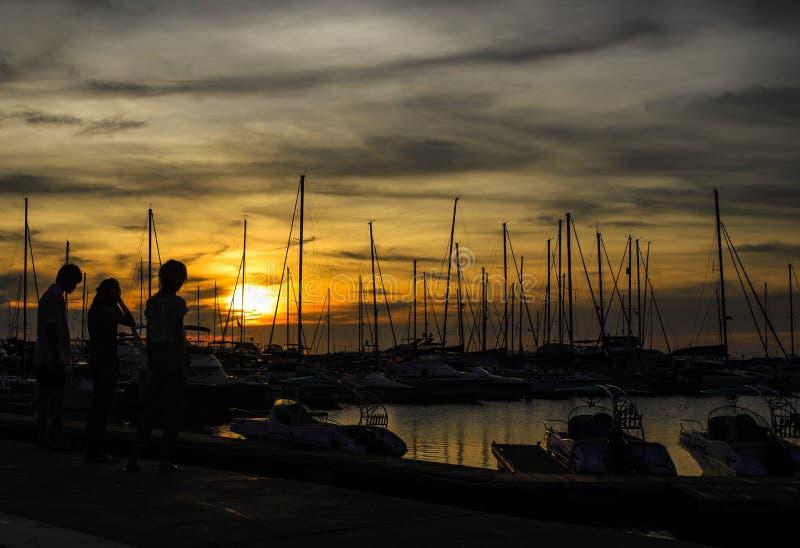 美好的日落在热带海 库存照片