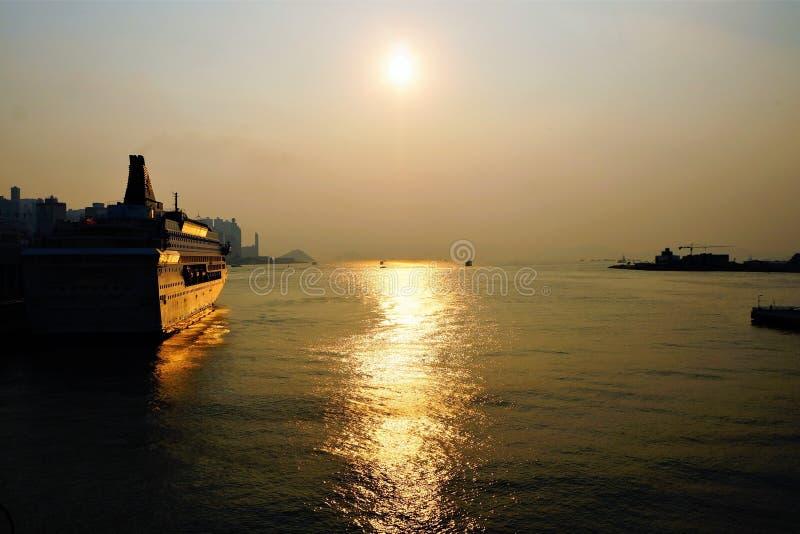 美好的日落在香港 库存图片