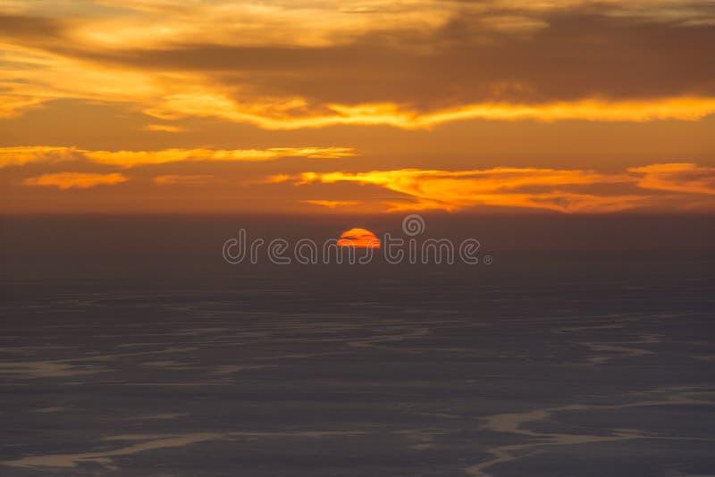 美好的日落的简单的射击在科孚岛希腊 免版税库存照片