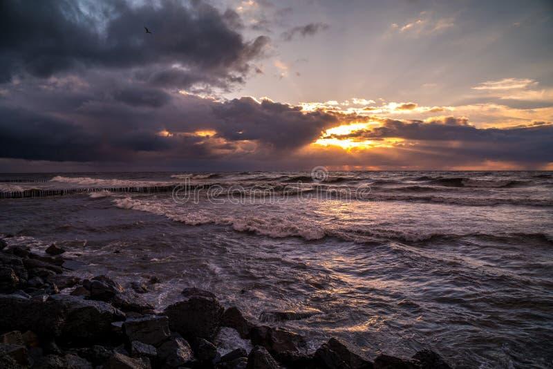 美好的日落黑海 金海日落 波季,乔治亚,自然 库存图片