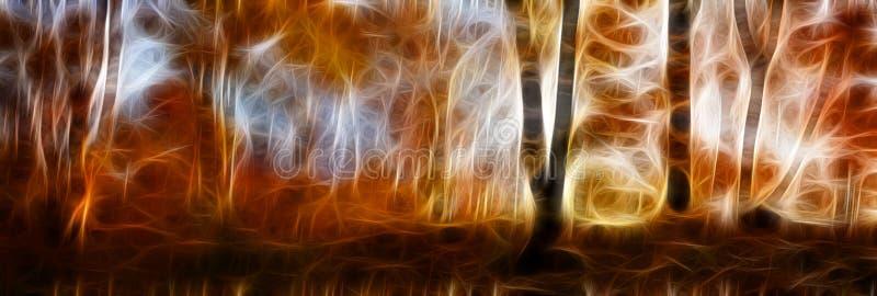 美好的早晨场面在秋天,金黄森林 免版税库存图片