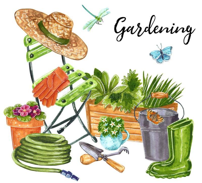 美好的早期的春天庭院花构成,放松在庭院里在工作以后 库存例证