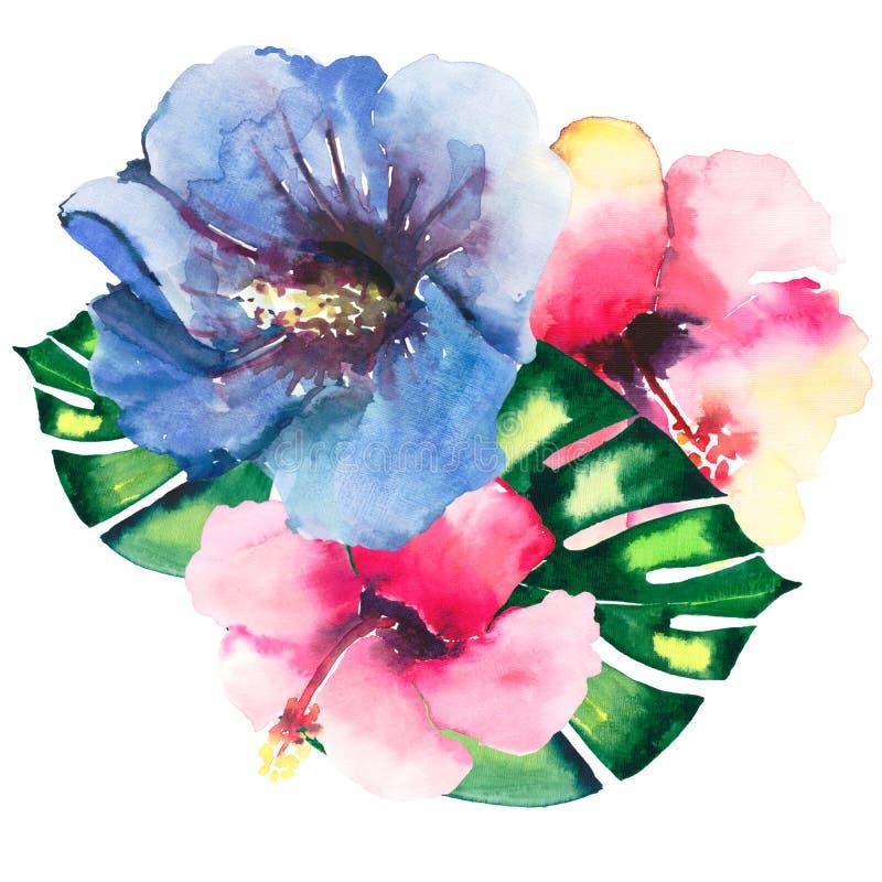 美好的明亮的可爱的美妙的热带夏威夷花卉草本夏天五颜六色的结构的三热带红色,蓝色,黄色, p 库存例证