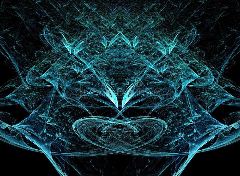 美好的明亮的蓝色冷的颜色摘要结冰的星设计分数维构成 皇族释放例证