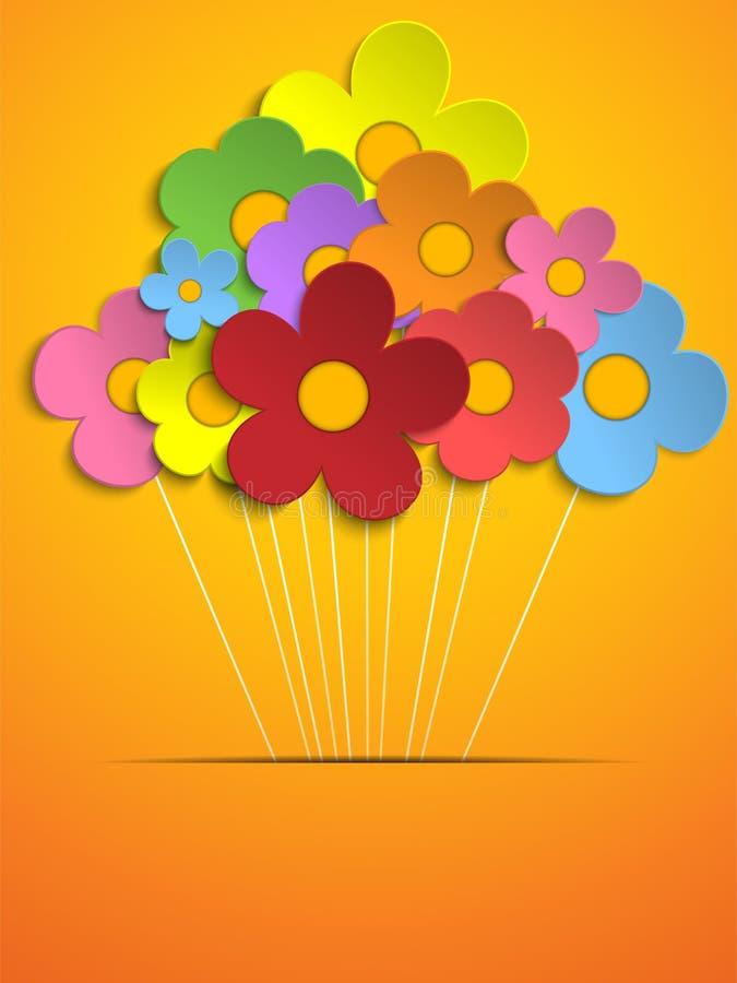 美好的春天五颜六色的花背景 向量例证