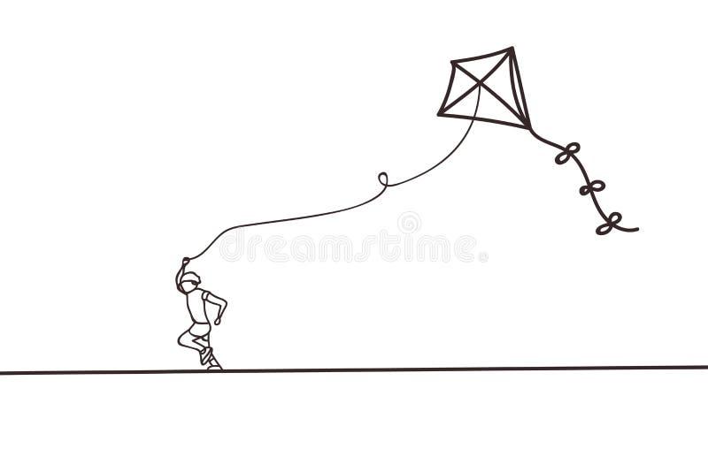 美好的最小的实线与儿童设计传染媒介的风筝飞行 向量例证