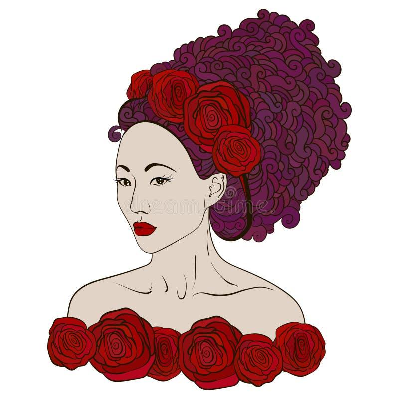美好的有抽象头发的时尚亚裔妇女 向量例证