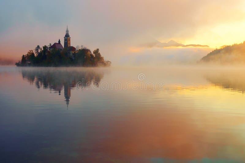 美好的有雾的日出秋天的流血的湖 免版税图库摄影