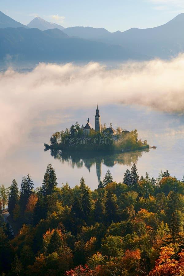 美好的有雾的日出秋天的流血的湖 图库摄影