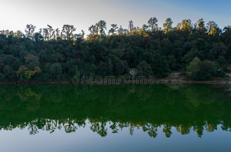 美好的林木线和它的反射在日出期间的Deoria Tal 免版税库存图片